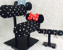 Double Mouse Ear Display and Bangle holder Black-White Mickey