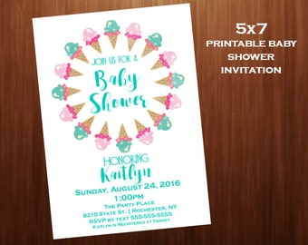 Ice cream Baby Shower Invitations, mint and pink, Printable digital, Baby Shower Invitations, 5x7 baby shower invitation