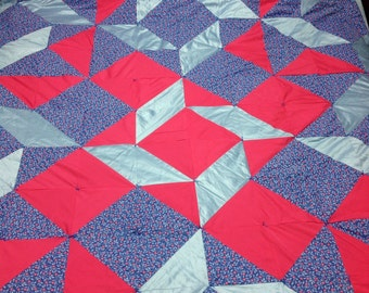 Pink & Blue Floral Balkan Puzzle Queen Quilt