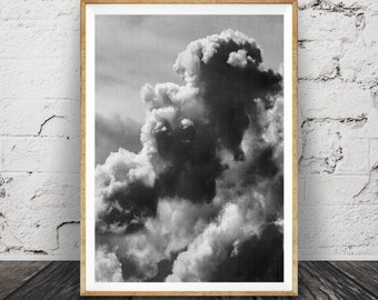 Cloud Photo Print, Black and White Cloud Photography, Wall Art, Modern Scandinavian, Nature, Printable Download, Large Poster