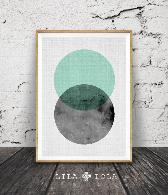 Modern wall art minimalist decor geometric circle print for Modern minimalist wall art