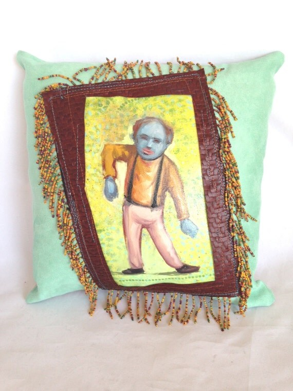 Hand Painted Green and Orange Boogie Pillow