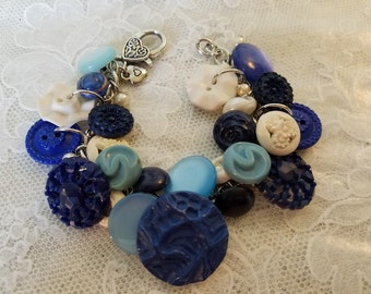 Blue and Ivory Vintage Button and Bead Bracelet~Faux Pearl Bead and Button Bracelet~Silver Tone Bead and Button Charm Bracelet