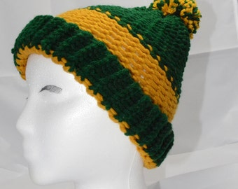 Green and Gold Knit Cap