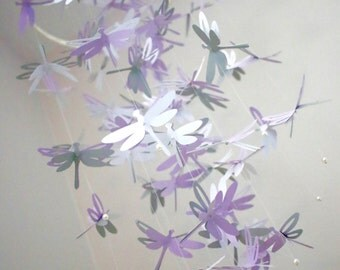 Dragonfly Crib Mobile. Dragonfly Mobile. Purple, Grey and white. Photo prop, Baby shower, Baby nursery, Birthday, Decor.