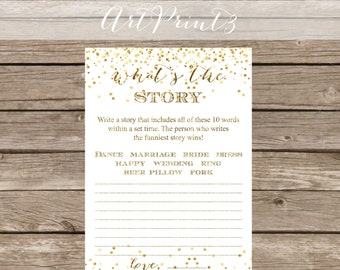 What's the Story Bridal Shower Game Printable, Write a Funny Story Game, Gold Confetti Bridal Shower Game Printable,Make a Story Bridal Game