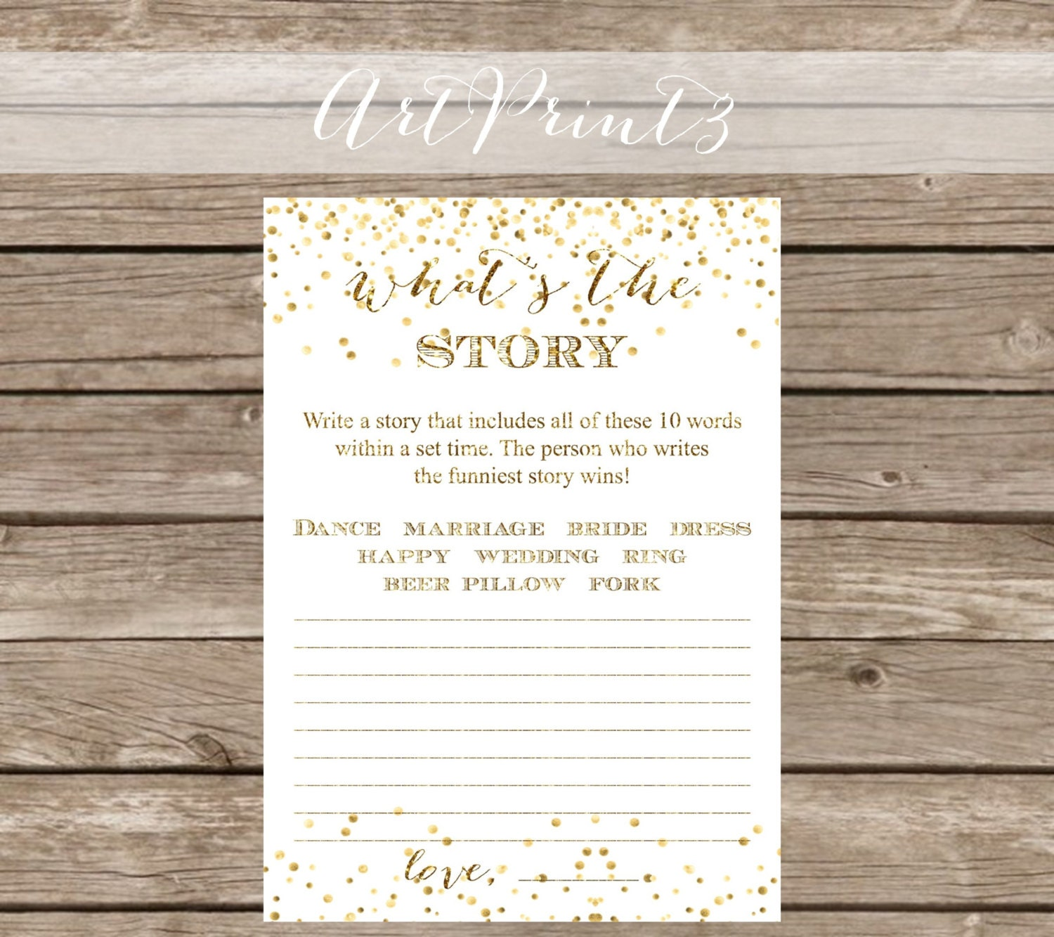 What's The Story Bridal Shower Game Printable Write A