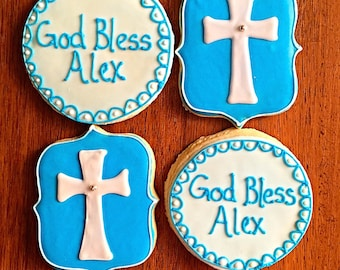 One Dozen - Baptism Cookies - Religious Party Favor - Communion or Confirmation Treats - Boy Christening
