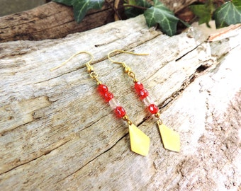 Bohemian earrings, gold, minimalist, red, rose, love, faceted glass beads