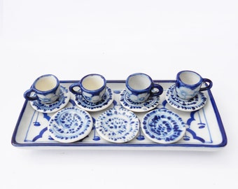 Vintage Mini Tea Set, Blue & White Mini Tea Set, Toy tableware, Small tea set, Miniature home accessories, Miniature collection