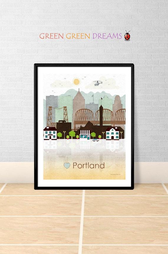 Portland Print Poster Wall Art Portland By Greengreendreams