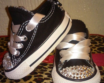 Cute Bling Girl's Converse for youth size (8-6)