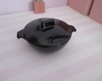 Vintage sugar bowl black Melmac