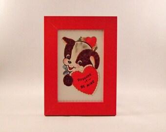 """Framed vintage dog """"Doggone It Be Mine"""" valentine"""