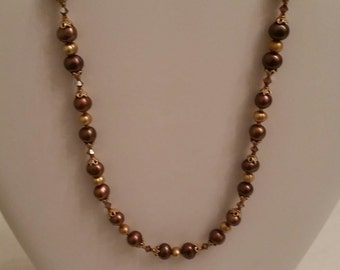 Brown Pearl & Crystal Necklace