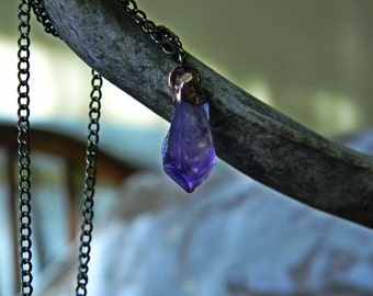 Copper Dipped Amethyst Pendant