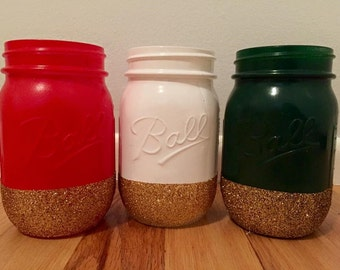 Red White & Green Glittery Mason Jar Trio - Christmas Decoration
