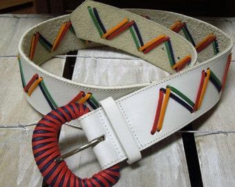 VINTAGE: 80s  White Leather Belt/ Ginnie Johansen /Multicolor Laced Belt.{D3-125#00392}
