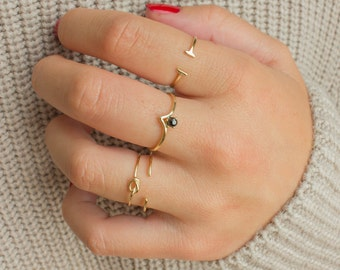 Delicate stacking rings - gold stacking rings - simple gold rings