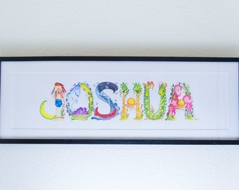 Name Painting - Pirate Themed Framed Customized Artwork