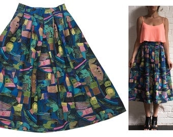 Abstract Print Skirt Mid-length Multicolour Pleated with Pockets