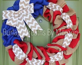 Patriotic Burlap Wreath, Patriotic Wreath, Fourth Of July Wreath, Fourth Of July Burlap Wreath, Memorial Day Wreath, Everyday Wreath