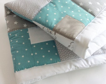 Baby blanket - Baby Rag Quilt- Baby Patchwork Blanket - Pink rag quilt - Baby Boy rag quilt - Nursery Decor