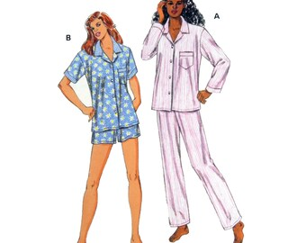1999 Kwik Sew 2811 Misses' Classic Pajamas with Short or Long Sleeves and Pants, Uncut, Factory Folded Sewing Pattern Multi Size XS-XL
