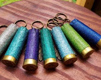 Shotgun shell keychain, glitter shotgun shell keychain, 12 gauge keychain, feather