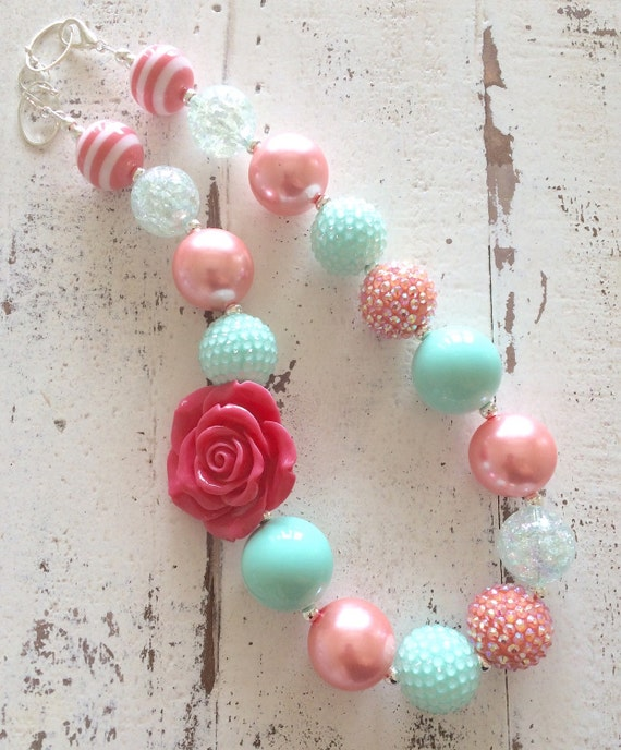 Coral Pink And Mint Green Teal Spring Summer Flower Girl