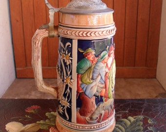 German Stein, Beer Stein, Hand Painted Stein, Vintage Beer Stein