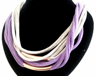Upcycled T-Shirt Necklace - Purple Grey & Bronze