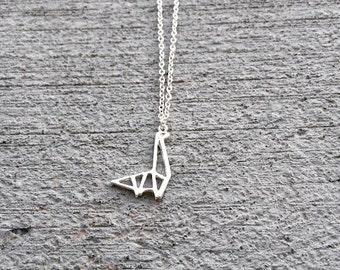 Silver Geometric Dinosaur, Shapes, Simple, Minimalist, Dainty Necklace, Animal Necklace