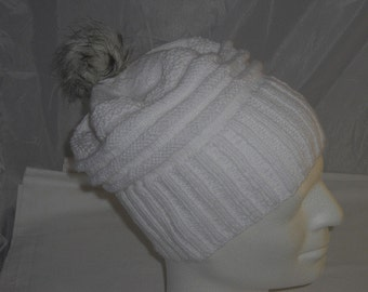 Beanie - Cap with art fur Pompom KU 42-56 cm - Knit Beanie - Cap - winter hats - Bobble Hat
