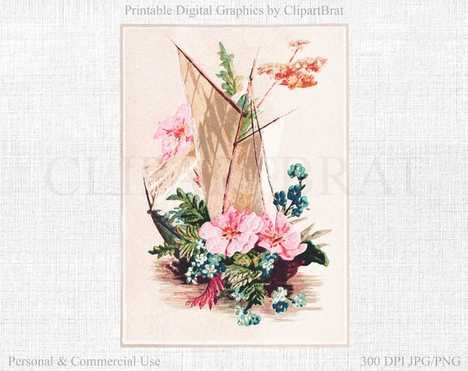 WATERCOLOR SAILBOAT Clipart Commercial Use Clipart Floral Sail Boat Art Print Fabric Transfer Watercolor Clipart Printable Graphic Jpg/Png