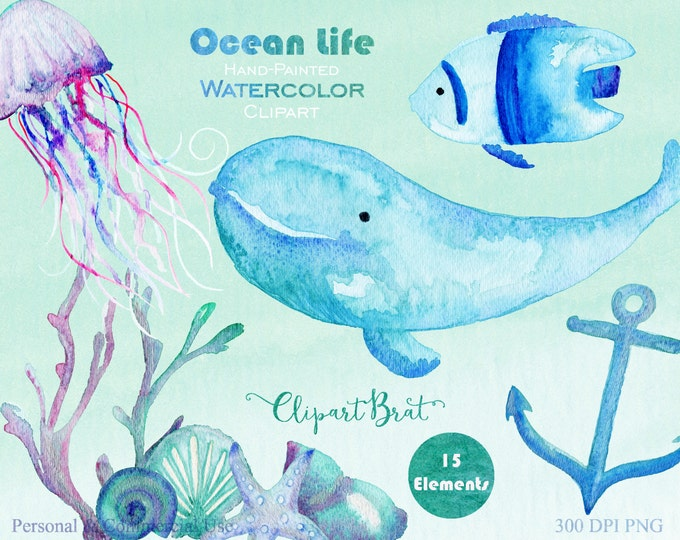 OCEAN LIFE Clipart Commercial Use Clipart Watercolor Nautical Sea Creatures Hand-Painted Whale JellyFish Anchor & Watercolor Backgrounds