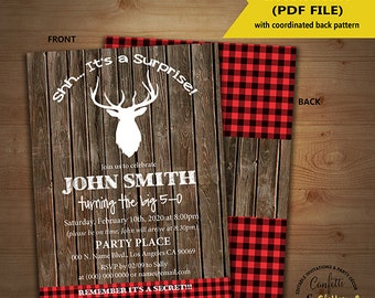 Surprise lumberjack birthday invitation wood rustic plaid deer woodland party invite Instant Download editable text printable invite 5198