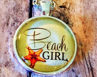 Beach : Glass Dome Necklace, Pendant or Keychain Key Ring. Gift Present metal round art photo jewelry by Bohemian Marvels
