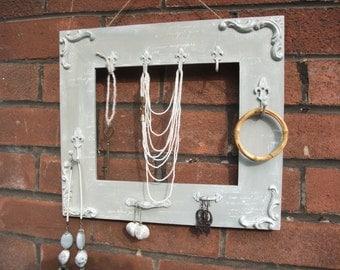 frame jewelry holder,shabby chic jewelry display,jewelry organizer,home decor