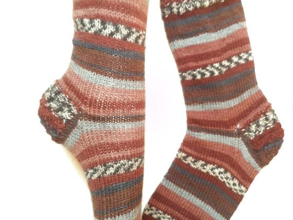 Knitting Pattern For Diabetic Socks : Hand knit big size wool winter socks Christmas gift Swollen