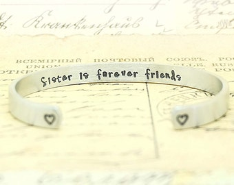 Gift for Sister - Sisters is forever friends, Sisters Bracelet, Gift for Sister, Gift for her, Personalized Gift, Birthday, Christmas gift