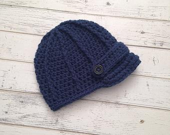 Baby Boy Newsboy Hat, Boys Blue Hat, Newsboy hat, Crochet newsboy baby boy hat, newborn infant photo prop baseball cap, MADE TO ORDER!