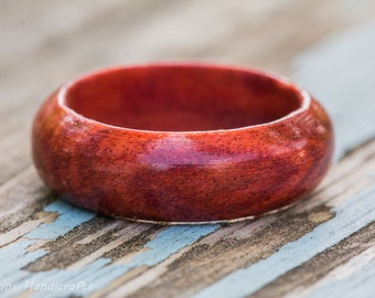 Redheart Wood Ring -  Mens Womens Custom Hand Carved Wedding Engagement Band Multiple Size Red Heart