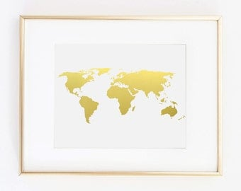 World map printing etsy world map gold foil picture travel farmhouse gumiabroncs Gallery