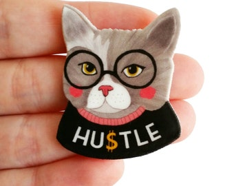 "Brooch // Pin // Cat // Hustle // shrink plastic // Illustrated ""Hustle Cat"" // statement // quirky jewelry"
