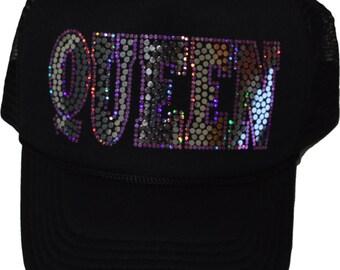Queen bling cap sparkly sequins Hat no rhinestones glitter