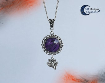 Owl necklace Halloween jewelry Purple necklace Animal spirit Witch necklace Fantasy jewelry Gothic necklace Owl charm Magical gift for her