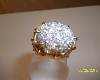 Diamond Pave Dome Ring - 5.9 Ct. - 99 diamonds - 14K gold