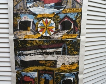 Linen Dish Towel Of Pennsylvania Covered Bridges Handprinted By Kay Dee