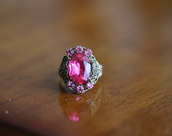 Fancy Costume Jewelry Ring 1960s Adjustable Pink Stone ~ Boom Thang Vintage ~ 161110C